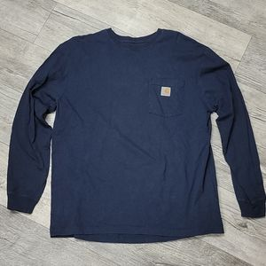 Carhartt Size L Blue Long Sleeve Tshirt